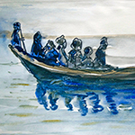 people in boat - painting by Rikki Asher